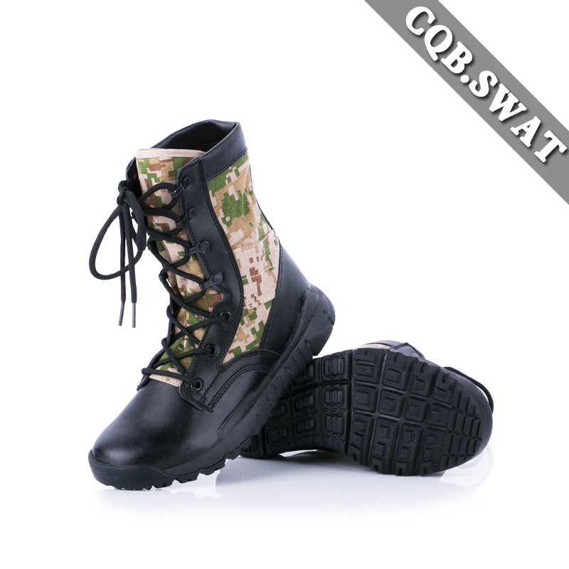 Ultra-Light Combat Boots CQB.SWAT Canvas Lightweight Combat Boots Shock Absorption Hight-top Outdoor Tactical Boots Hiking Boots