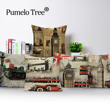 Funda de cojín Vintage londinense con diseño de Torre Big Ben, funda de almohada de lino para exteriores, decoración del hogar, funda de almohada Lumbar