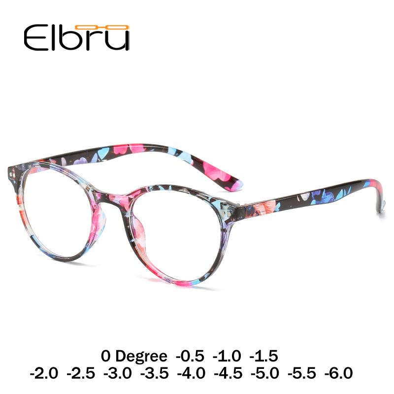 Elbru Women Retro Vintage Round Finished Myopia Glasses For Ladies Nearsighted Eyewear Myopia Eyeglasses 0 Degree -1.0 To -6.0