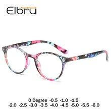 Elbru óculos retrô para miopia feminino, redondo, vintage, acabado, para míopia, óculos para míopia, 0 graus-1.0 a-6.0