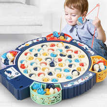 Fishing Toy Children Electric Musical Rotating Board Play Fish Game Magnetic Fish Outdoor Sports Educational Toys For Boys Girls