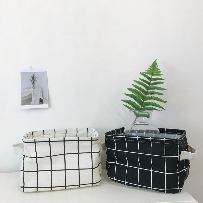 Ins Korean Toys Box Lattice Storage Basket Organizer Clothes Cosmetic Cotton Linen Folding Desktop Cosmetic Sundries Basket