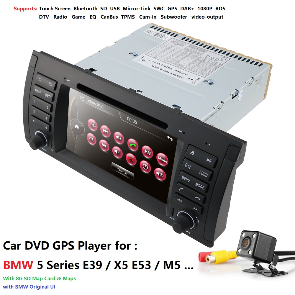 Car Multimedia Player GPS audio Autoradio For BMW/E39/X5/M5/E53 navigation Car Radio 1 Din IPS Touch Screen dab Rear view camera image