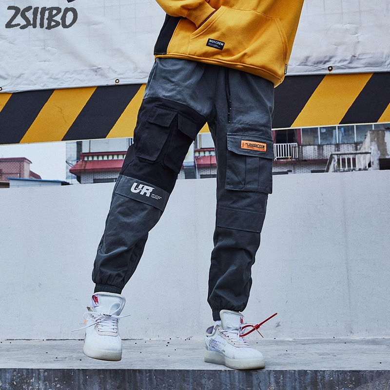 Streetwear Pants Tatical Men's Joggers-Trousers Side-Pockets Cargo Male Casual Fashion