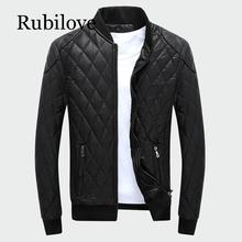 Rubilove Mens Leather Jackets Stand Collar Thick Warm Motorcycle Bike Riding Faux Jacket Male Fashion Velvet Plaid PU Coats M-4
