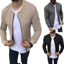 OLOME Men's Autumn Plaid Slim Fit Jacket Long Sleeve Zipper Coat Streetwear Soli