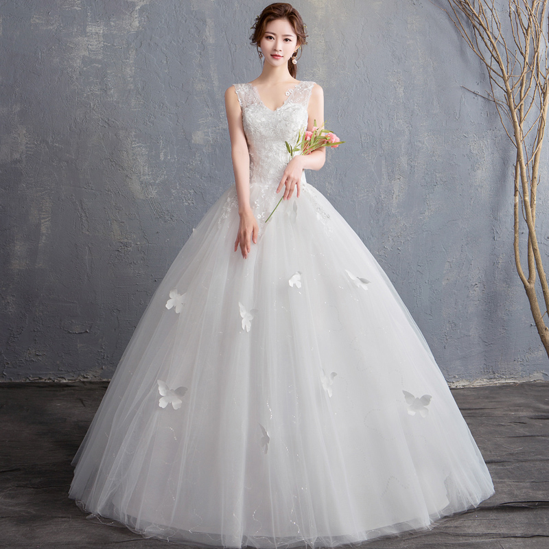 Cheap Tank Wedding Dress 2019 New Summer Sleeveless Bride Ball Gown V Neck Lace Gown Wed Dress 15 Robe De Mariage