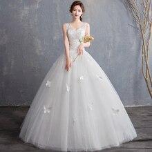Barato tanque vestido De boda 2019 nuevo verano sin mangas vestido De novia cuello en V vestido De encaje vestido De boda 15 bata De mariage