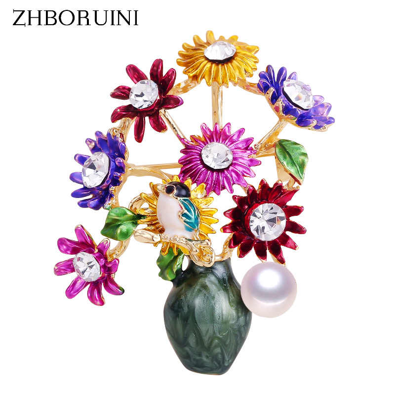 ZHBORUINI 2019 New High Quality Real Natural Freshwater Pearl Brooch Vase Flower Enamel Brooch Pins Pearl Jewelry For Women G