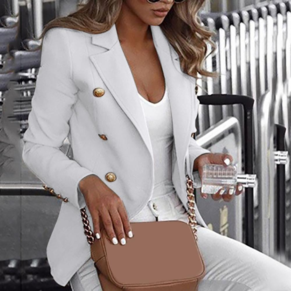 Fashion Slim Double Breasted Blazer Women Loose Top Long Sleeve Casual Jacket Ladies Office Wear Coat Jacket Large Size Blazer