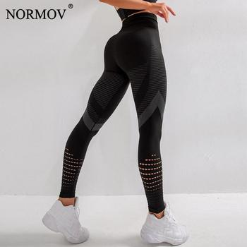 NORMOV Fitness Leggings Women Seamless High Waist Push Up Leggins Black Hollow Out Breathable Quick-drying Workout Femme Jegging black hollow out stretchable leggings
