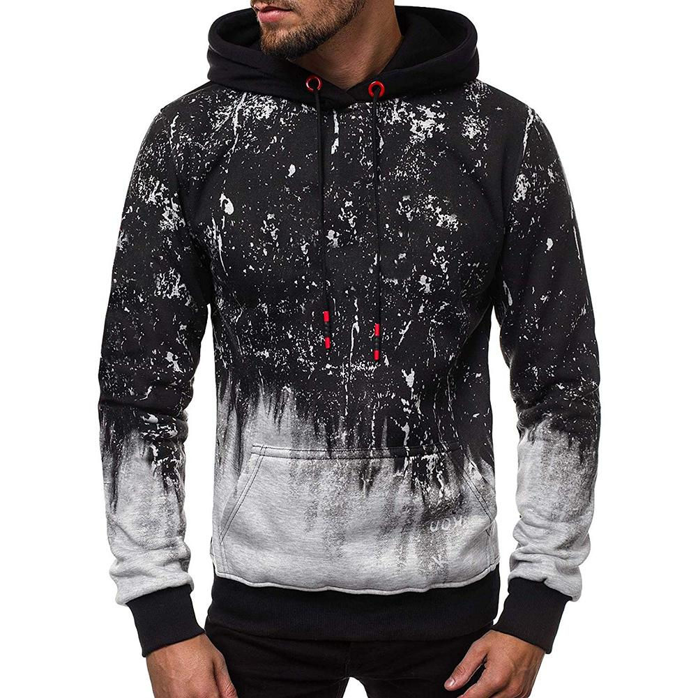Men Sweatshirt Hoodies Gradient Color Floral Print Long Sleeve Hoodies Pullover Sweatshirt Floral Print Long Sleeve Pullover