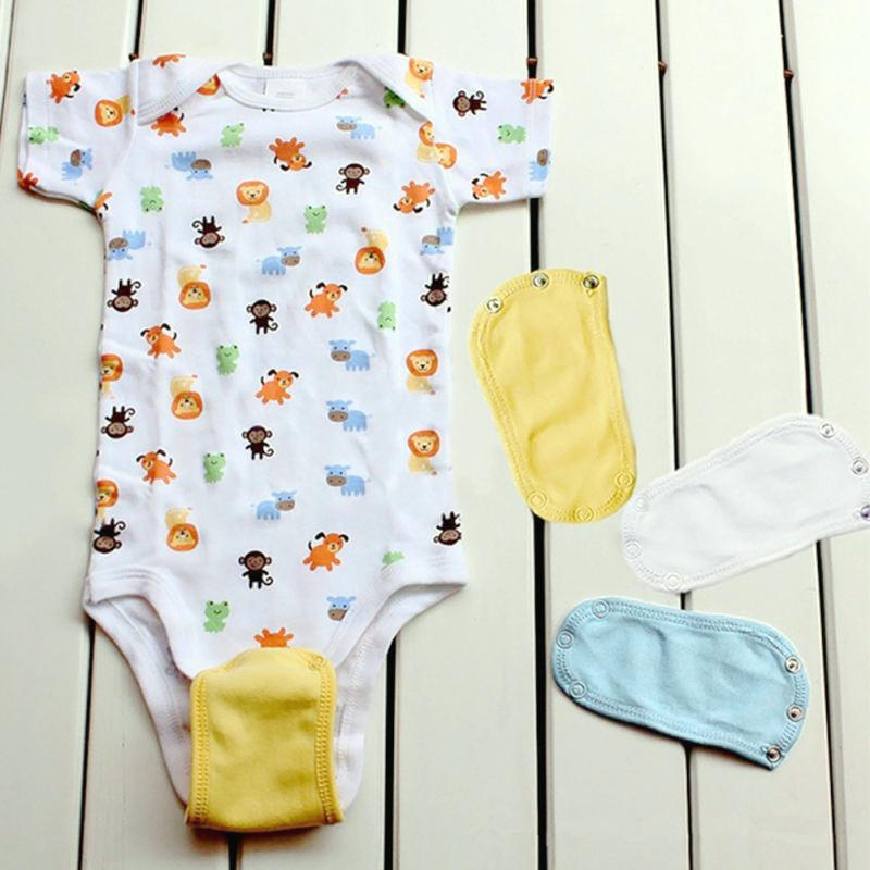 4Pcs/Set Lovely Baby Boys Girls Kids Jumpsuit Diaper Lengthen Extender Extension Solid Soft Jumpsuit Bodysuit Extender 6
