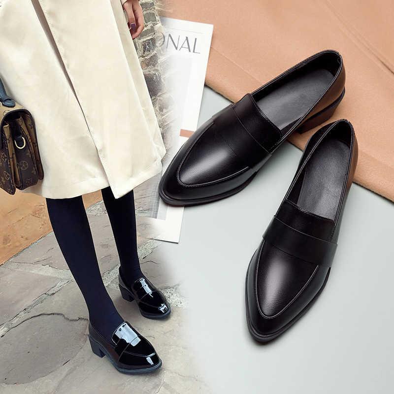 Bằng Sáng Chế Balo Da Đế Bằng Cổ Người Phụ Nữ Giày Hàn Quốc Nữ Giày Mũi Nhọn Nữ Gót 2020 Đầm Trên Giày Cao Gót PU