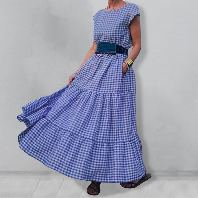 gingham dress, nice belted, tri-level skirting swing, cuff sleeve 2