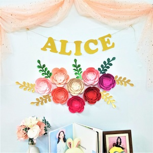 Image 2 - DIY przedszkole ścienne papier dekoracyjny kwiaty liście zestaw na urodziny tła rękodzieło dekoracyjne kwiat sztuka wystrój w stylu Boho w kwiaty przedszkole