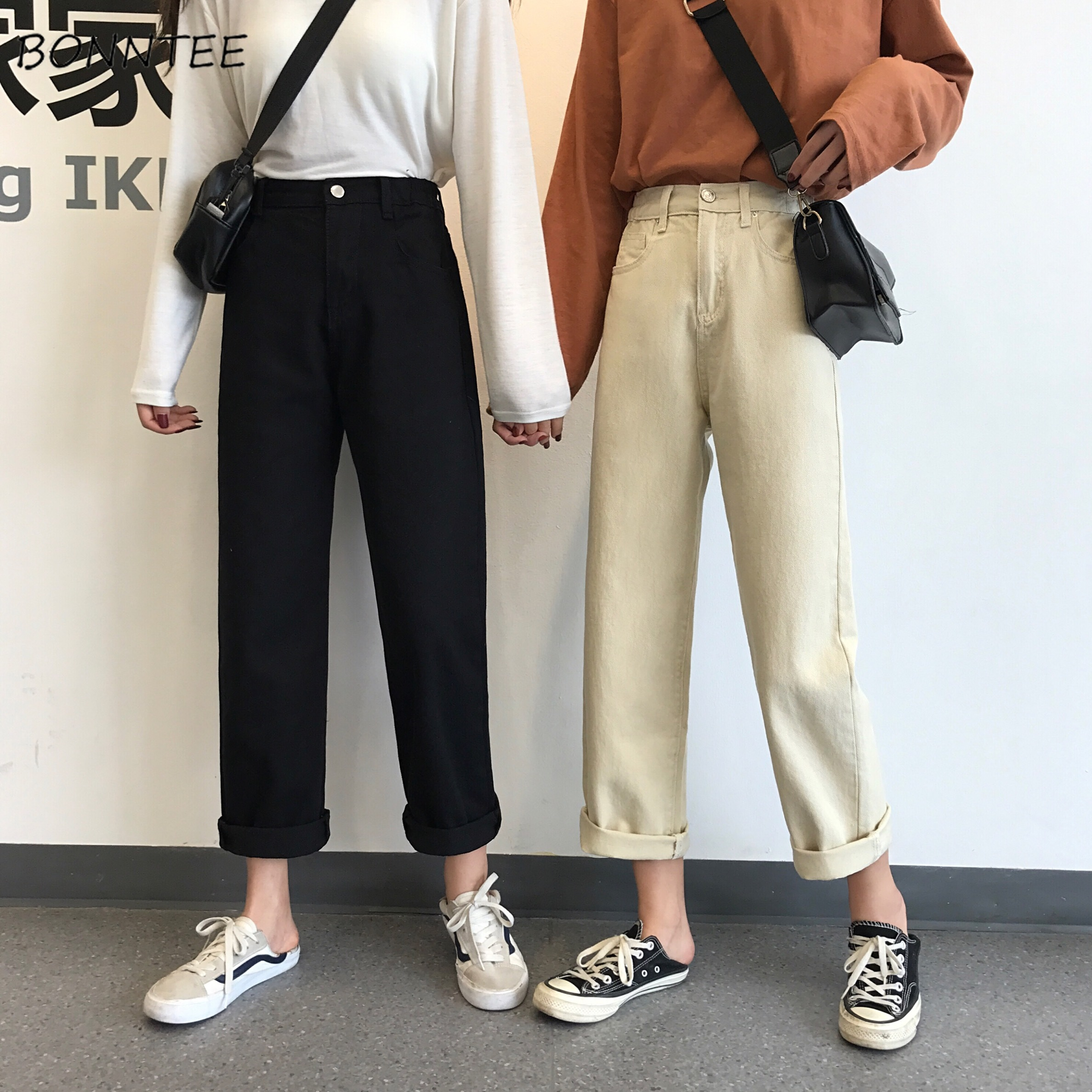 Jeans Women Solid Ankle-length Korean Style Simple All-match Student BF Streetwear Ulzzang Womens Denim Trousers Fashion Casual