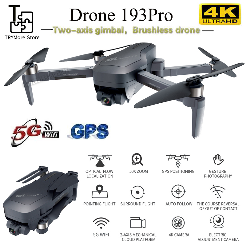 193 Pro Gps Drone With 4k 5g Wifi 2-axis Gimbal Dual Camera Professional Esc 50x Zoom Brushless Quadcopter Rc Drone Vs F11 K1
