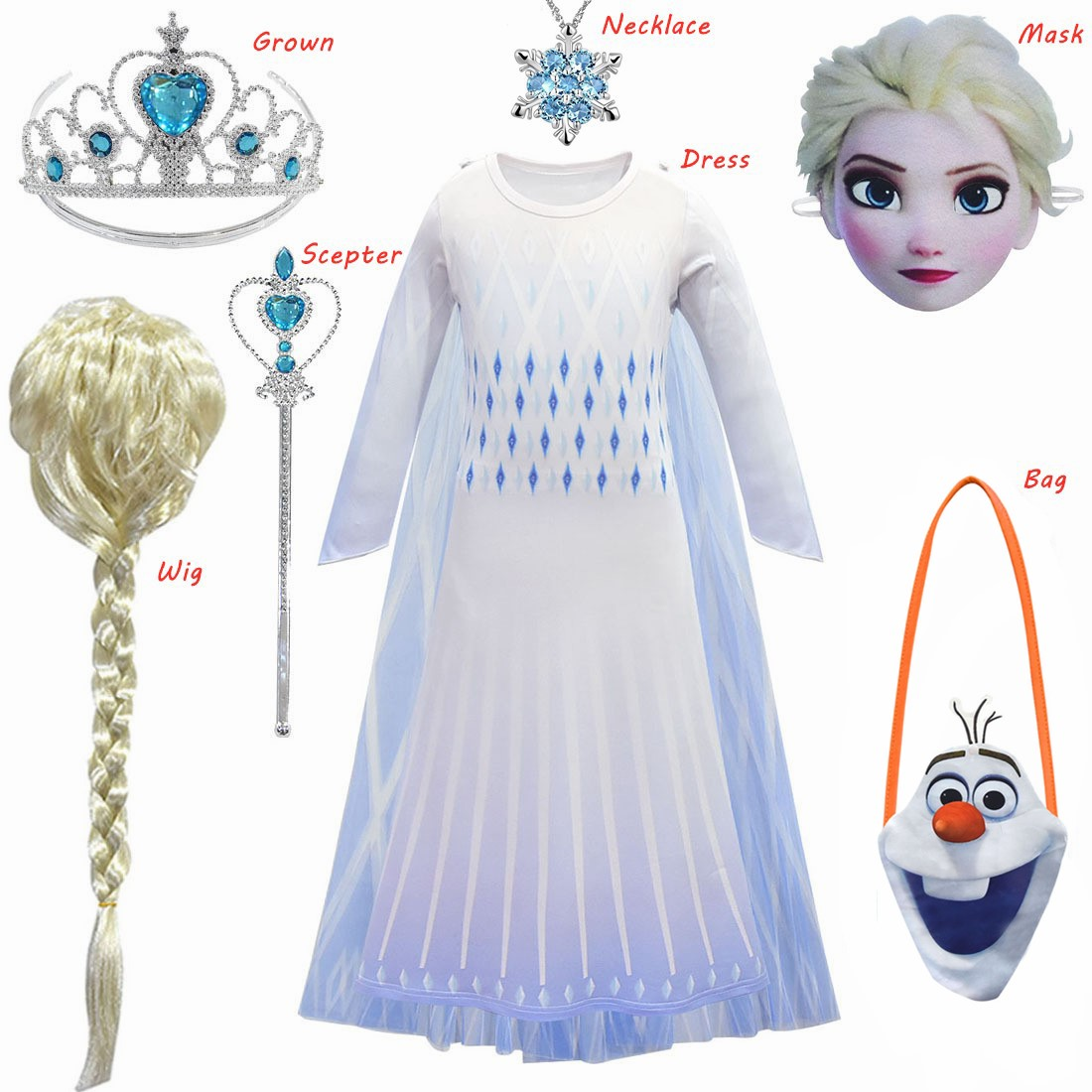 2020 Costume Frozen 2 Cosplay Elsa Anna Princess Dress Kids Dresses For Girls Evening Party Dresses Flower Girls Wedding Gowns
