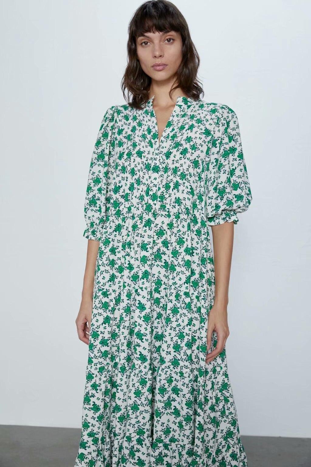 2020 New Spring Summer European Flower Floral Printed Zaraing Women Dress Vadiming Sheining Female Streetwear Dress XDN9420