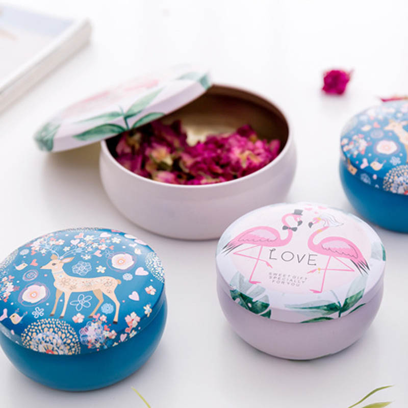 Desktop Boxes Tinplate Animal Gift Box Jewelry Box Flamingos Design 1 PCS Circular Girl Present Mini Tin Box
