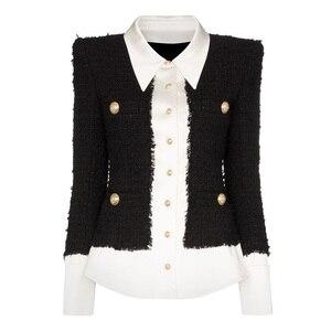 Image 1 - Chaqueta de diseñador de moda para mujer, Chaqueta con botones de León, mezcla de lana satinada, de retales de Tweed y, 2020