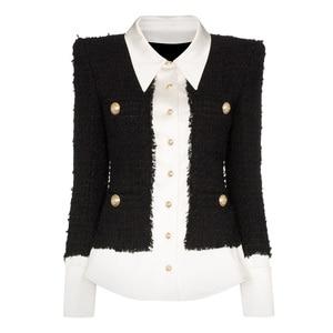 Image 1 - HIGH QUALITY 2020 Newest Fashion Designer Jacket Womens Lion Buttons Satin Wool Blend Patchwork Tweed Jacket