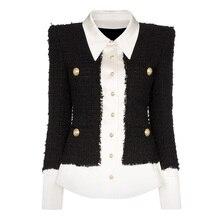 HOHE QUALITÄT 2020 Neueste Mode Designer Jacke frauen Lion Tasten Satin Wolle Mischung Patchwork Tweed Jacke