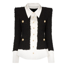 Veste de styliste, veste de haute qualité 2020, boutons de Lion en laine de Satin en mélange de laine et Patchwork Tweed pour femmes