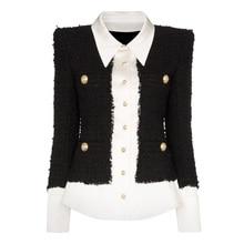 Yüksek kalite 2020 yeni moda tasarımcısı ceket kadın aslan düğmeler saten yün karışımı Patchwork tüvit ceket