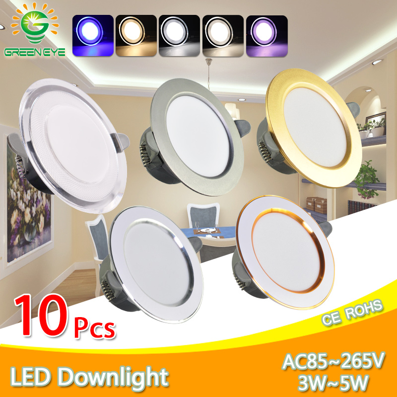 10Pcs Downlight 3w 5w spot led lights 3000k 4500K 6000K AC 220V-240V led Downlight Kitchen living room Indoor recessed lighting