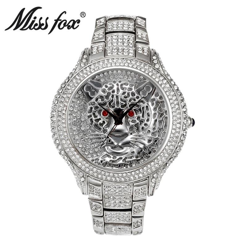 Miss Fox Women Watches Top Brand Luxury Leopard Ladies Watch Women Shiny Diamond Silver Watches Stainless Steel Women's Clock