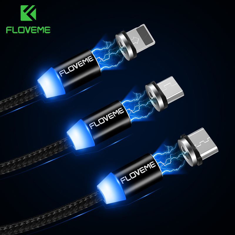 FLOVEME Magnetic <font><b>Cable</b></font> 1m Braided Mobile LED Type C Micro USB Magnet Charger <font><b>Cable</b></font> For Apple iPhone X 7 8 <font><b>6</b></font> 10 Xs Max XR Samsung image