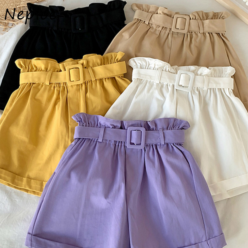 Элегантные женские шорты Neploe, Новинка лета 2020, свободные широкие шорты с высокой талией, шорты для похудения с поясом 1E220        АлиЭкспресс