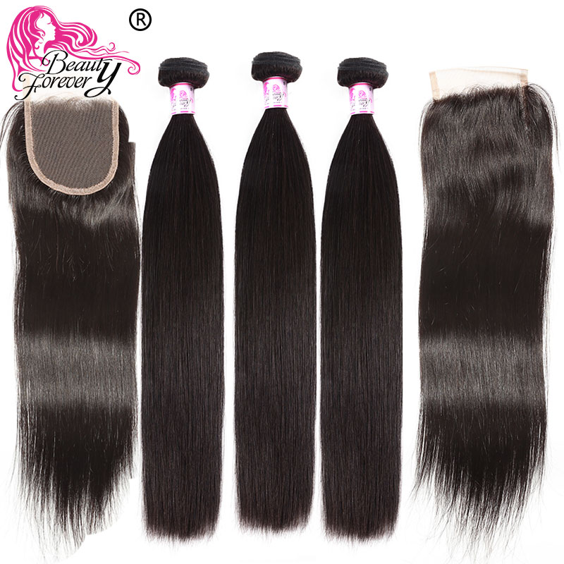 Beauty Forever Brazilian Straight 3 Bundles With 2pcs Closures 4*4 Same Part Remy Human Hair Weave Bundles With Closure