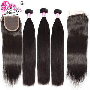 Bundles Closures Beauty-Forever Brazilian Straight with 2pcs 4--4 Same-Part Remy Human-Hair