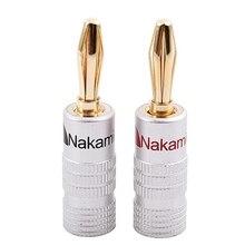 새로운 24 pcs 24 k 골드 nakamichi 스피커 바나나 플러그 오디오 잭 커넥터