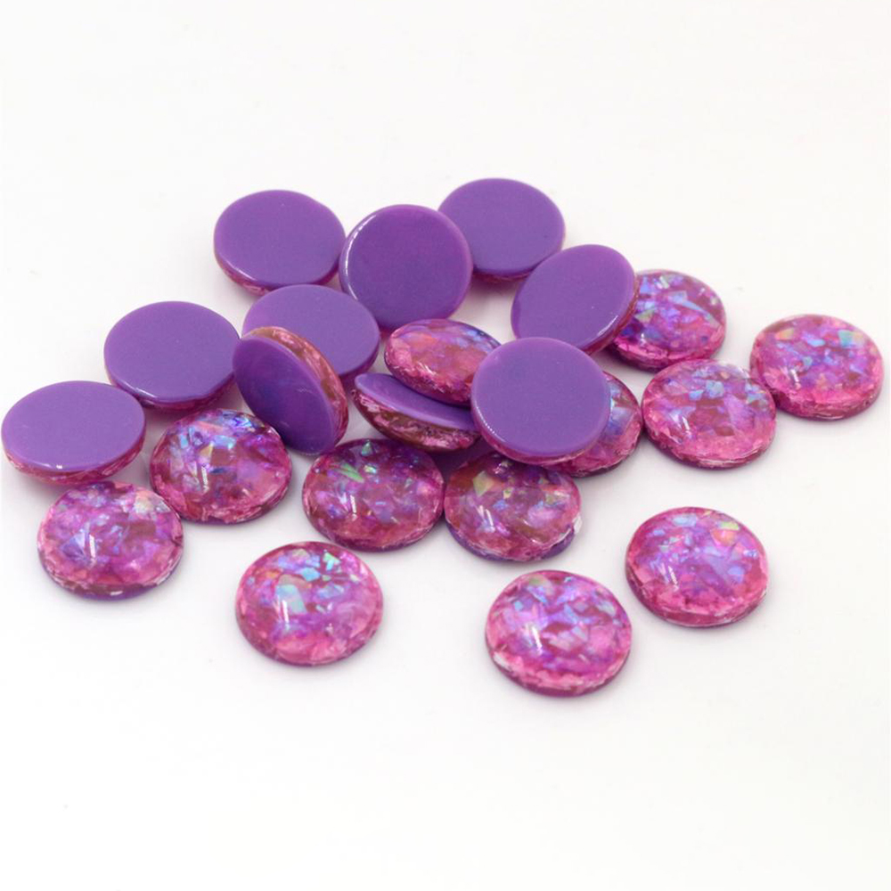 New Fashion 40pcs 12mm  Dark Purple Colors Built-in Metal Foil Flat Back Resin Cabochons Fit 12mm Cameo Base Cabochons-V1-28