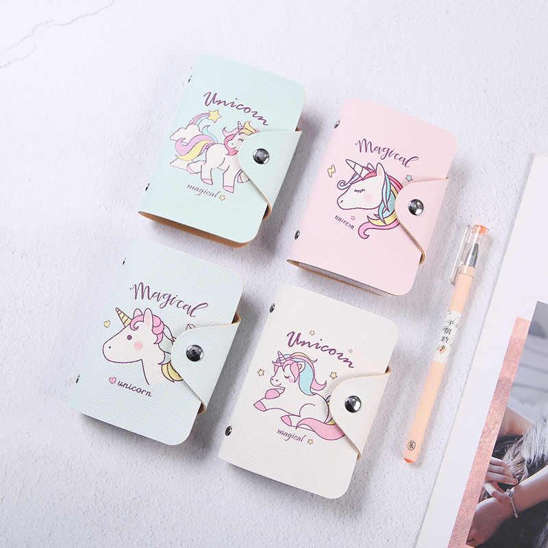 20 Bits ID tarjeta titular unicornio tarjeta titular PU cuero tarjeta de crédito cartera moda tarjeta bolsa organizador Protector fundas