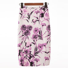 Digital Printing Elegant Flower Skirts For Women Sexy Causal Fashion High Waist Retro Floral Work Skirt(China)