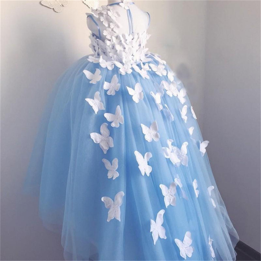 Butterfly Flower Girls Dresses Light Blue High Low Flower Girls Birthday Party Dresses Pageant Party Gowns Custom