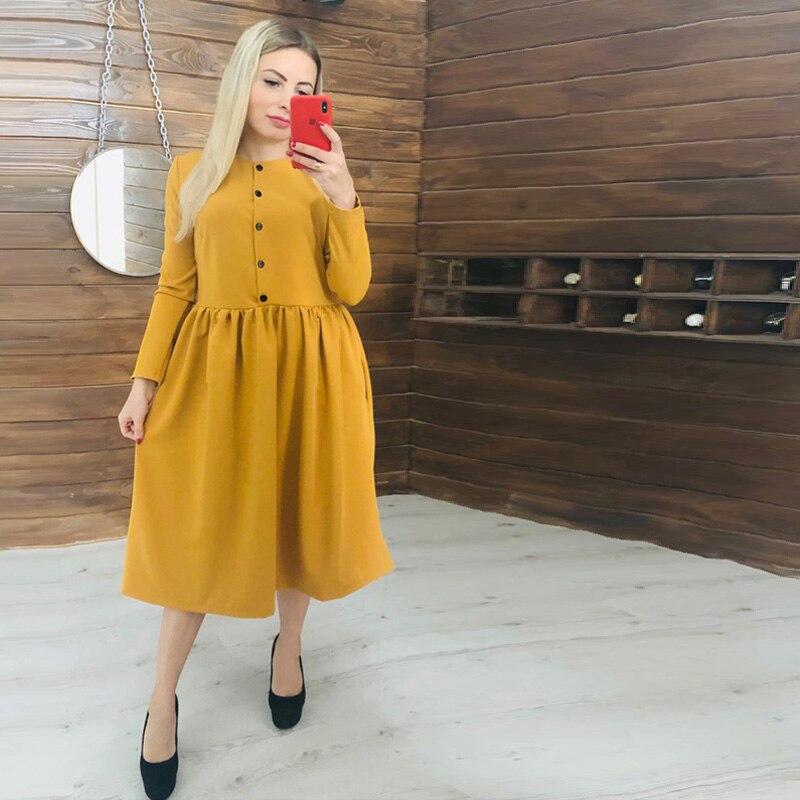 Женское повседневное однотонное платье на пуговицах, элегантное вечернее платье с круглым вырезом и длинным рукавом, новинка 2020, модное жен...