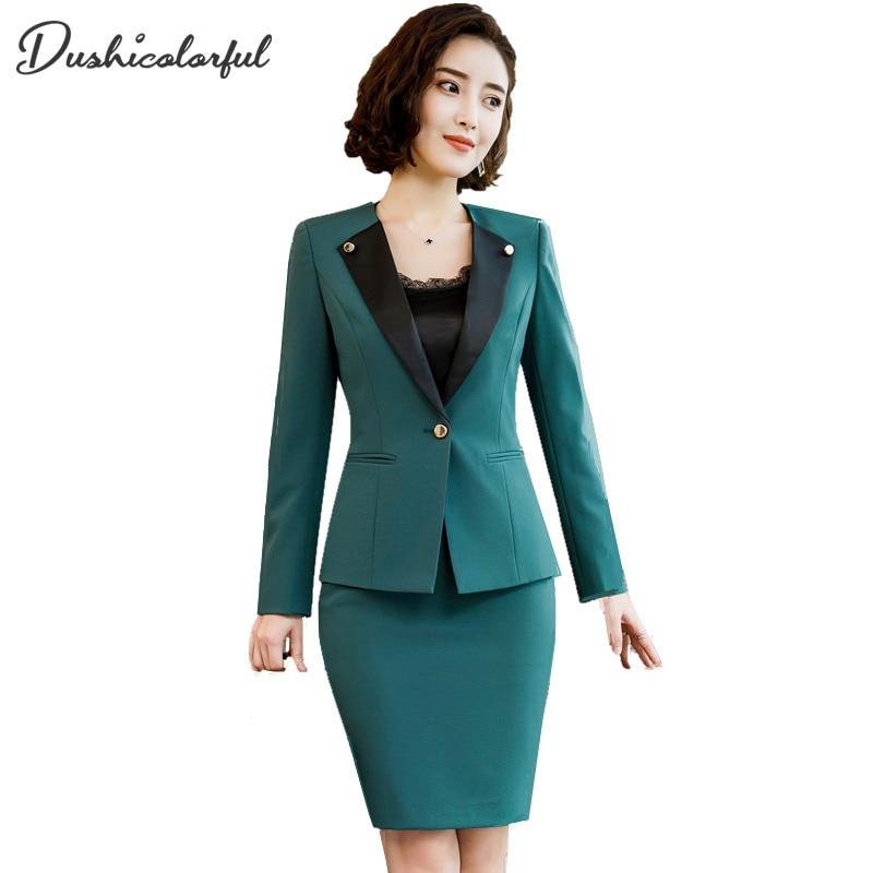Green Black Color Suit Blazer Jacket Women Autumn Winter 2019new Elegant Office Lady Long Sleeve Coat Splice Suits Female Ladies