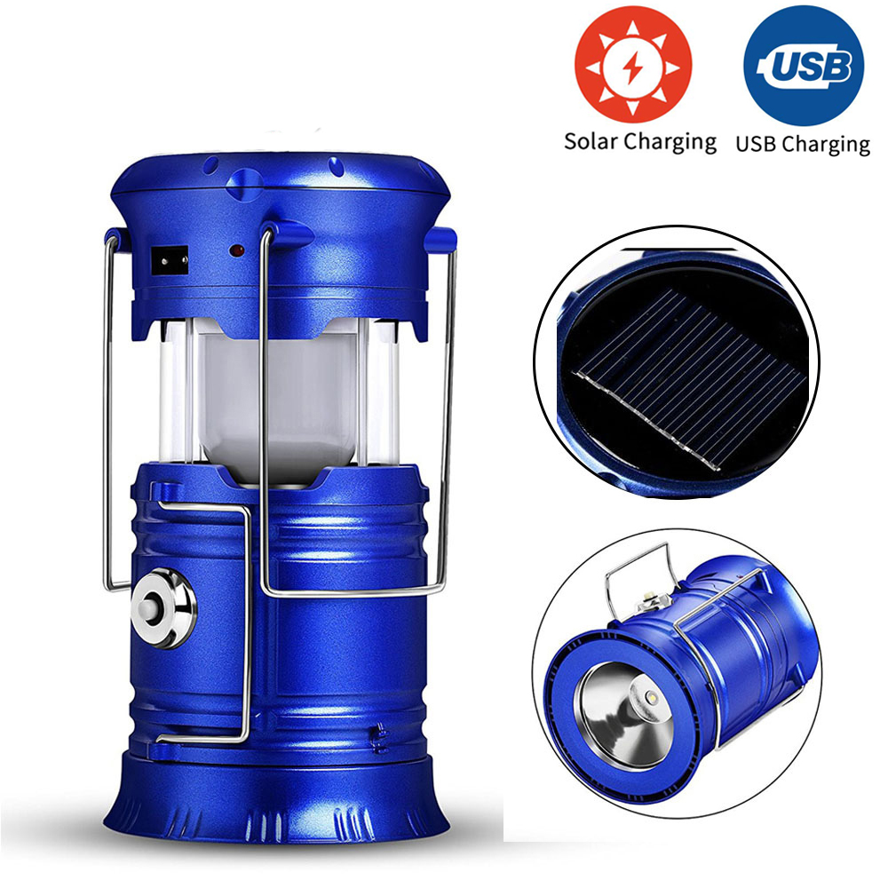 ZK20 Dropshipping Rechargeable Camping Light 6 LEDs Solar Camping Lantern Tent Lights For Outdoor Flashlights Stock In US,RU