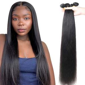 Hair Weave Hair-Extensions Human-Hair-Bundles Brazilian 4-Remy Black Straight for Women