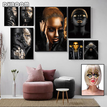 Black Gold Art Woman Oil Painting on Canvas Cuadros Posters and Prints Scandinavian Wall Art Picture Modern Home Decoration(China)