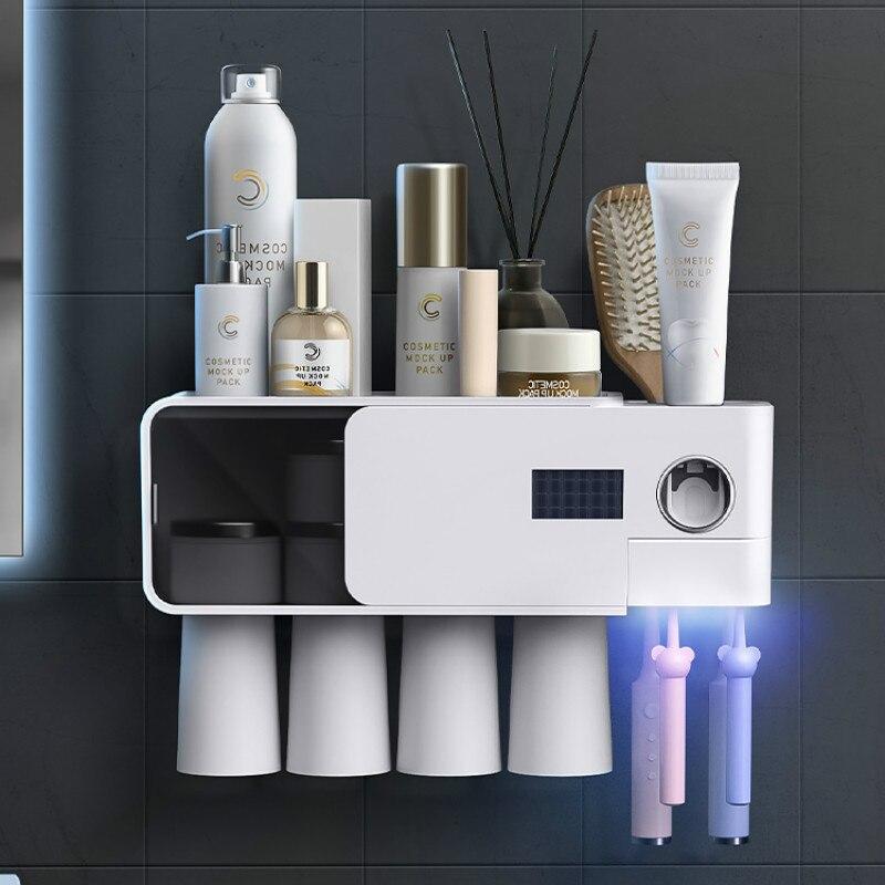 Bathroom Organizer Toothbrush Holder Wall Uv Sterlizer Electric Dispenser Toothbrush Holder Badezimmer Bathroom Products DB60TH