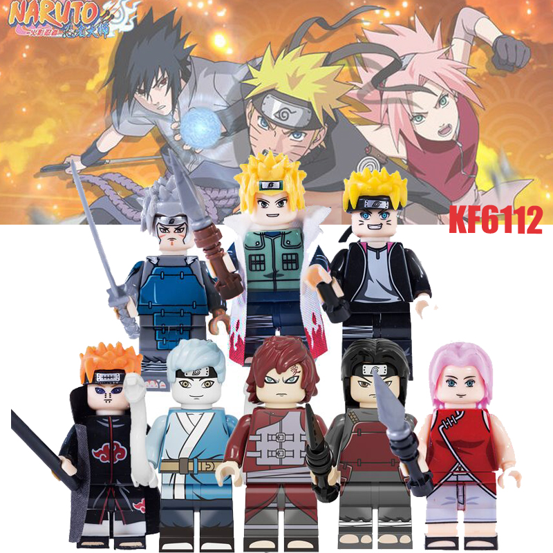 New Naruto Action Figures Toy Uzumaki Boruto Gaara Senju Hashirama Pain Haruno Sakula Figures Block Collection Toys KF6112