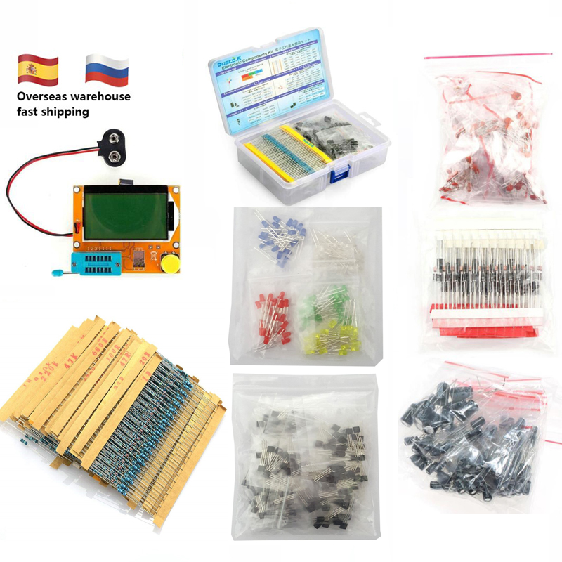 Electronic Component Kit Total 1390Pcs LED Diode Triode Capacitance PNP/NPN LCR TO-92 Transistor Resistors Set For ESR-T4 Tester