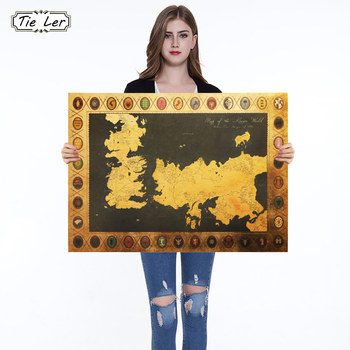 Map Classic Modern TV Drama Kraft Paper Poster Decorative Painting Wall Sticker 70X51cm image